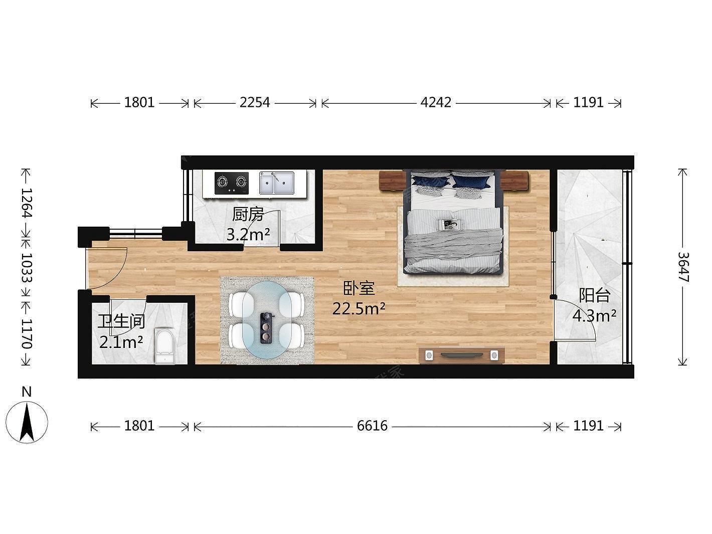 正规一居室,低楼层,采光无遮挡