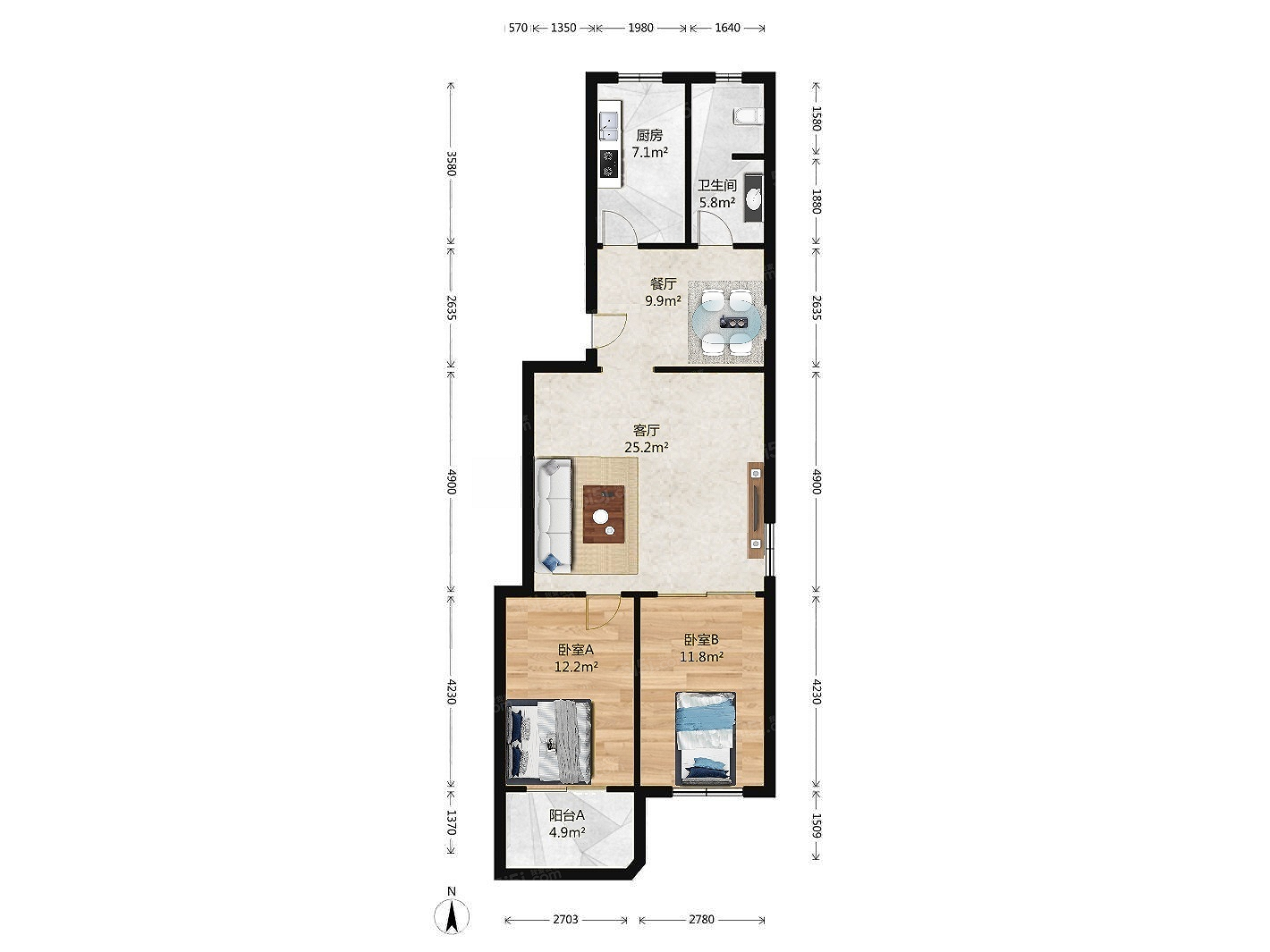 通州新城 乔庄北街8号院 正规两居室 全明户型