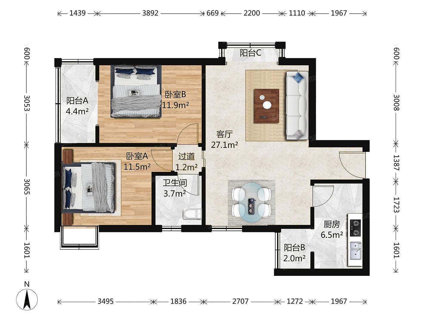 佳世苑南区,电梯房大两居,全明格局,户型方正