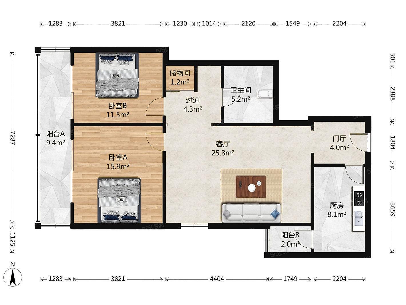 出租 迦南大厦精装修家电家具全齐 117平米两居室