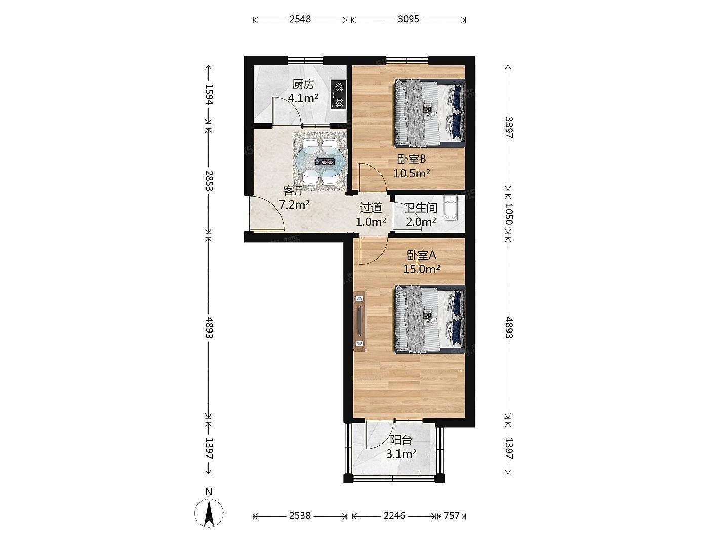 六道口 林大院内两居室南北通透两居看房随时
